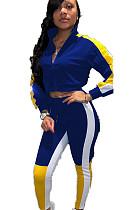 Blue Constrast Color Stripe Side Print with V Neck Blouse & Skinny Pants Set WJ5080