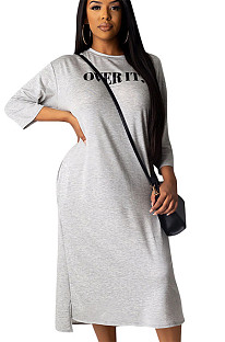 Gray Letter Print Loose Shirt Hoodie Long Dress ALS161