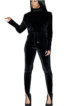 Black Nylon High Neck Self-tied Pants Set with Split leg TK6058