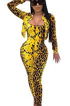 Yellow Pokal Dot Leopard Pattern Print Double Collar Jacket with Jumpsut Set   WJ5081