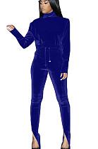 Blue Nylon High Neck Self-tied Pants Set with Split leg TK6058