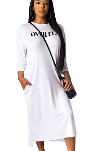 White Letter Print Loose Shirt Hoodie Long Dress ALS161