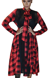 Red Plaid Bow Neck Flounce Bottom Long Dress ALS160