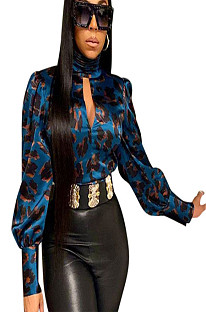 High Neck eyehole open Front Bishop Sleeve with Leopard Print ZH5162