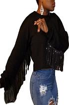 Black Round Neck Shirt with Tassel Trim Sleeve LL6279