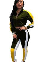 Green Constrast Color Stripe Side Print with V Neck Blouse & Skinny Pants Set  WJ5080