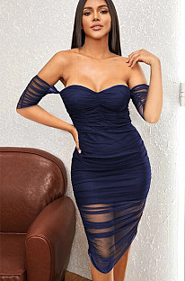 Blue sexy off shoulder shirred halter midi dress with transparent bottom WMZ2530