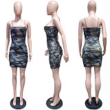 Green bodycon lady's halter camo dress LS6161