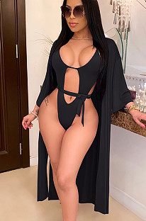 Black sexy hollow out back open swimsuit CYF3378