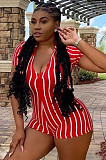 Red two tones stripes plunging neck bodycon jumpsuit MA6319