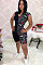 Black letter print short shoulder bodycon short jumpsuit BLX7503