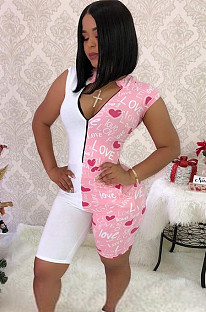Pink letter print short shoulder bodycon short jumpsuit BLX7503