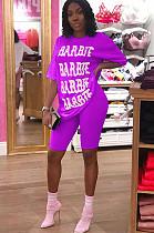Purple letter print tee top & bodcon short pants set HHM6131