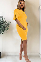 Yellow drop sleeve round neck short sets TRS1006