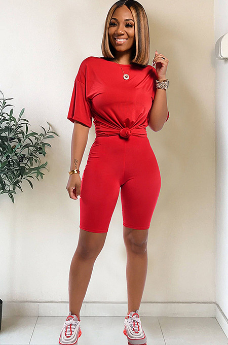 Red drop sleeve round neck short sets TRS1006