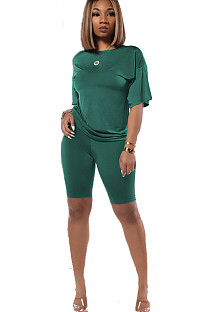 Green drop sleeve round neck short sets TRS1006