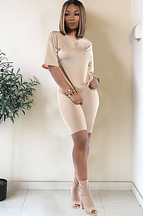 Apricot drop sleeve round neck short sets TRS1006