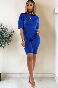 Blue drop sleeve round neck short sets TRS1006