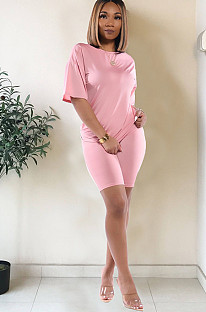 Pink drop sleeve round neck short sets TRS1006