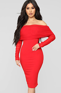 Red off shoulder layered ruffle & sleeve midi dress JLX6300