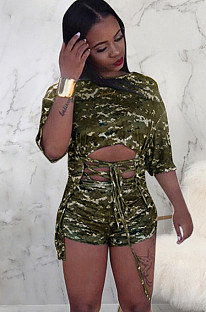 Green camouflage front hollow out criss-cross tied top & pants set SMR9571
