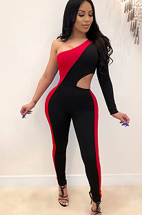 Red two tones one shoulder asymmertrical trim and side hollow out bodycon jumpsuit SDD9218
