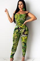Green floral random print strapped off shoulder  jumpsuit KA7086