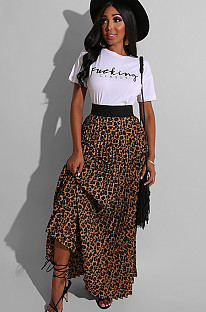 letter print skirt & long leopard print ruffled dress