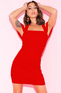 Red casual off shoulder  open back strapped mini dress XZ3355