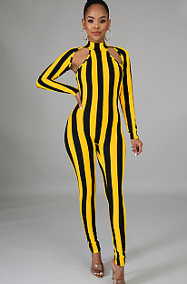 Yellow Two Tones Stripes Front Hollow Out Bodycon Jumpsuit XZ3370
