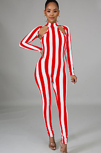 Red Two Tones Stripes Front Hollow Out Bodycon Jumpsuit XZ3370