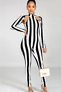 Black Two Tones Stripes Front Hollow Out Bodycon Jumpsuit XZ3370