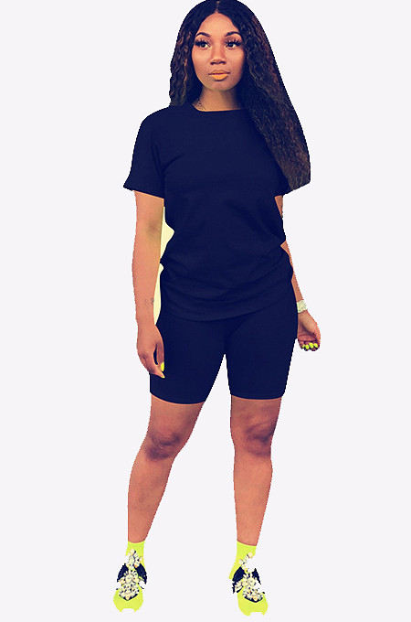 Blue Round Neck Short Top & Pants QQM3779
