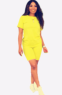 Yellow Round Neck Short Top & Pants QQM3779