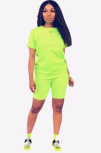 Green Round Neck Short Top & Pants QQM3779
