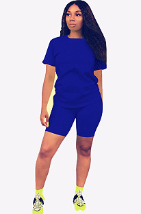 Navy Blue Round Neck Short Top & Pants QQM3779