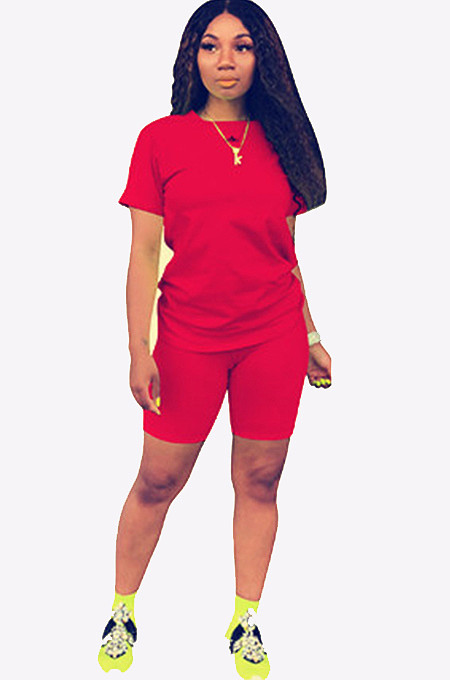 Red Round Neck Short Top & Pants QQM3779