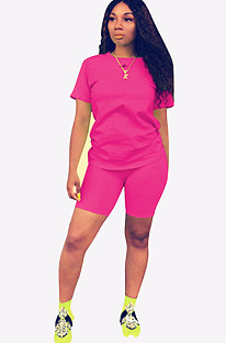 Pink Round Neck Short Top & Pants QQM3779