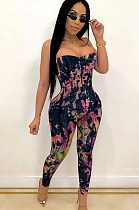 Black Tie Dye  Strapped Bodycon Jumpsuit CCY8365