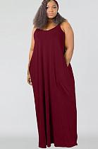 فستان أحمر طويل مقاس كبير تانك SMR9567