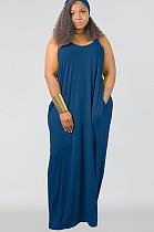 فستان أزرق مقاس كبير طويل تانك SMR9567