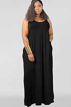 فستان طويل أسود مقاس كبير بلا أكمام SMR9567