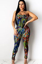 Green Tie Dye  Strapped Bodycon Jumpsuit CCY8365
