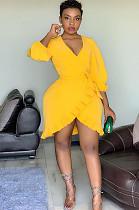 Yellow Plunging Neck Tie Front Ruffles Hem Mini Dress MF5098