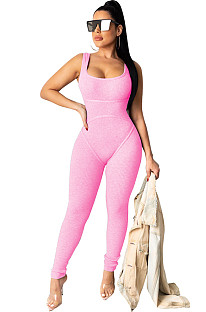 Pink Square Neck Strapped Bodycon Jumpsuit TRS1007