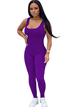 Purple Square Neck Strapped Bodycon Jumpsuit TRS1007