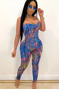 Blue Tie Dye  Strapped Bodycon Jumpsuit CCY8365