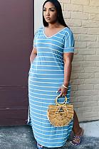 فستان طويل لون أزرق مزخرف بشقين جانبيين Q505