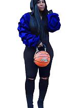 Blue Patchwork Flounce Bishop Sleeve Hoodie Blouse & Skinny Pants with Slits MN8095