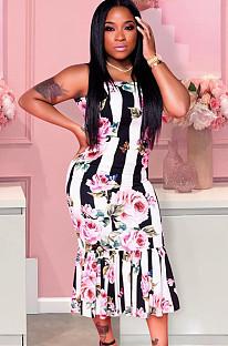 Random Floral Print Stripes Wavy Ruffles Long Dress H1320